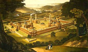 new_harmony_by_f-_bate_view_of_a_community_as_proposed_by_robert_owen_printed_1838-1