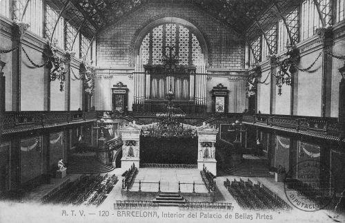 Palacio de las Bellas Artes donde fue Fundada la Confederación Nacional del Trabajo el 1 de noviembre de 1910 (interior). Barcelona 1888. August Font Carreras
