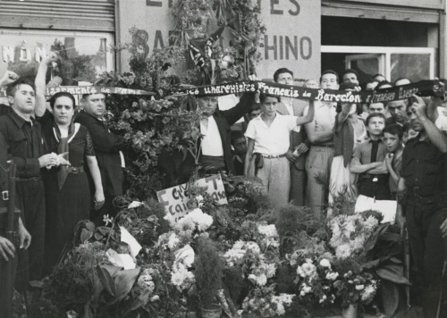 Perez de Rozas - Agosto de 1936 - Milicianos franceses homenajeando a Ascaso.
