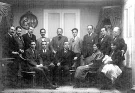 Bajatierra (derecho al centro) con otros destacados anarcosindicalistas (Seguí, Pestaña, Piera, etc.) En Madrid (1920)