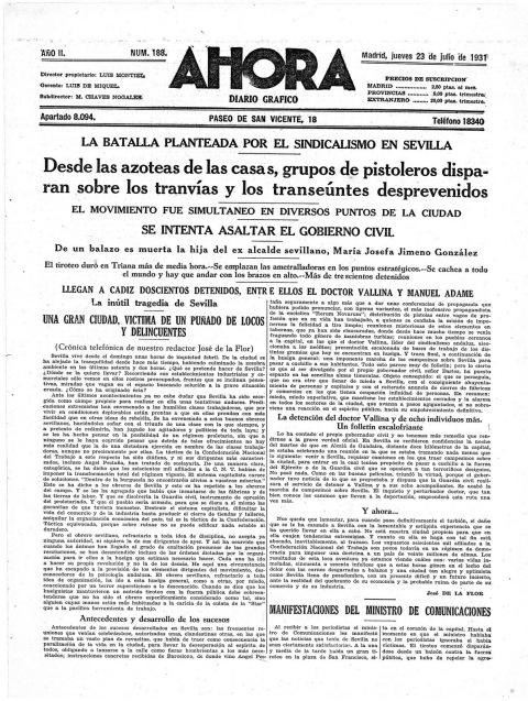 Noticia de la detención de Pedro Vallina,Ahora, Madrid, 23 de julio de 1931 (Archivo La Alcarria Obrera)
