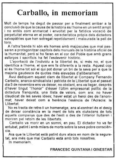 Artículo de Francisco Quintana y Ginestar aparecido en el periódico Canfali de Dénia