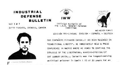 Cabecera de Industrial Defense Bulletin , los wobblies canadienses, dedicada a Fernando Carballo
