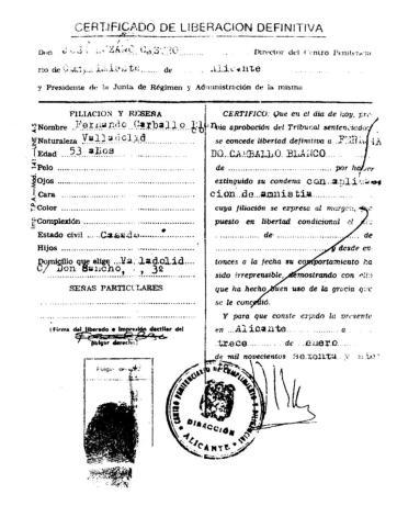 Certificado de liberación definitiva (13 de enero de 1977)