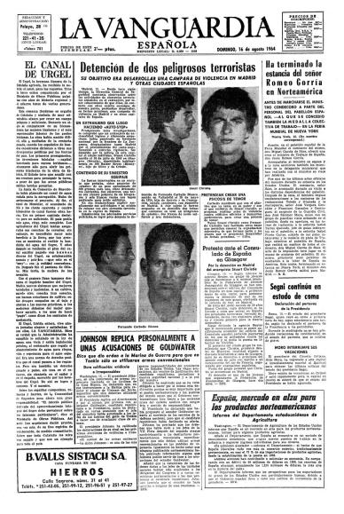 La detencion de Fernando Carballo y Stuart Christie según la prensa franquista ( La Vanguardia , 16 de agosto de 1964)