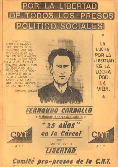 Panfleto pro-libertad de Fernando Carballo editada por la CNT