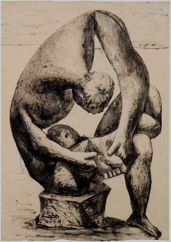 """Dibujo en carboncillo sobre un estudio del """"Espinario"""" conservado en los Museos Capitolinos de Roma"""