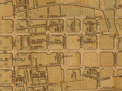 Mapa de1935 en el que puede verse como la calle .Rovira interrumpía Pujades