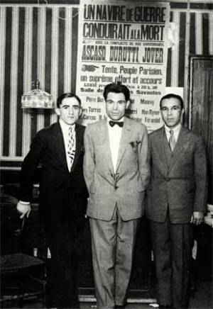 """Ascaso, Durruti y Jover, en Francia cuando eran llamados """"los tres mosqueteros"""""""