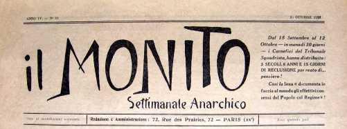 Cabecera del periódico Il Monito, editado por Raffaele Schiavina (Max Sartin)
