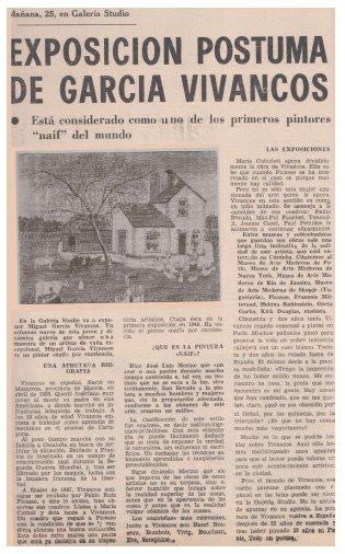 Artículo del periodista cordobésEladio Osunaen el Correo de Andalucía dando cuenta de la exposición póstuma de Vivancos en Studio 52