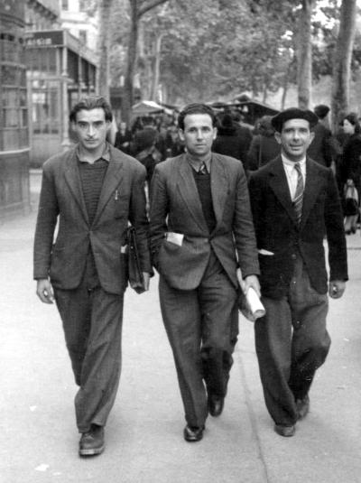 De izquierda a derecha: Antonio Téllez Solá, Benito Milla Navarro y Antonio Morales Guzmán (Toulouse, 1945)
