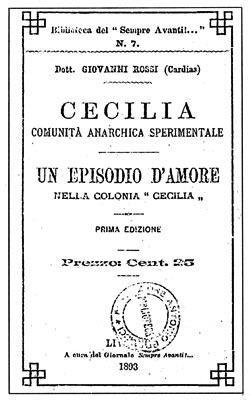 Portada de la primera edición de Cecilia.Comunità Anarchica Sperimentale.Un episodio de amore nella colonia «Cecilia»(1893)