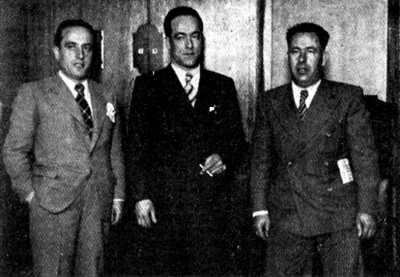 De izquierda a derecha: Aurelio Fernández Sánchez, Juan García Oliver y Ricard Sanz García, en el Comité de Milicias Antifascistas (1936)