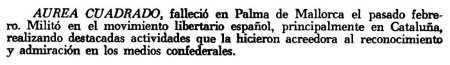 Nota necrológica de Áurea Cuadrado aparecida en el periódico mexicano Comunidad Ibérica de marzo de 1969