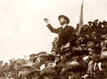 Manuel Joaquim de Sousa en un mitin del Primero de Mayo en el parque Eduardo VII (Lisboa, ca. 1924)