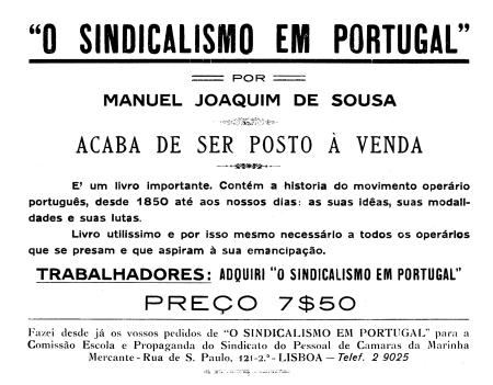 Panfleto publicitario del libro de Manuel Joaquim de SousaO sindicalismo me Portugal(1931)
