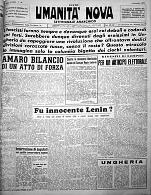 «Umanità Nova» (primera página del 12/09/1956),periódicopara el que Quaglino colaboró desde su fundación