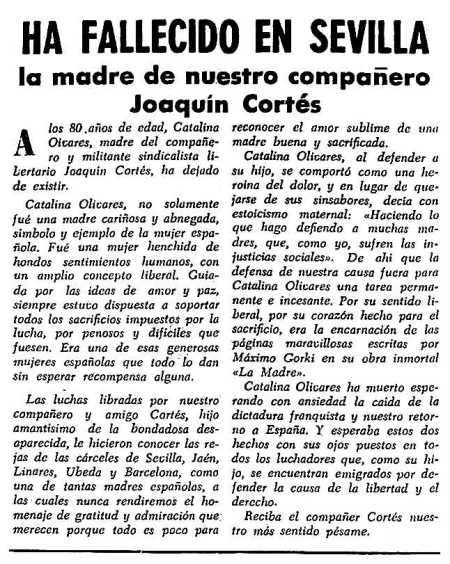 Noticia de la muerte de la madre de Joaquín Cortés Olivares aparecida en el periódico tolosà España Libro del 10 de abril de 1955