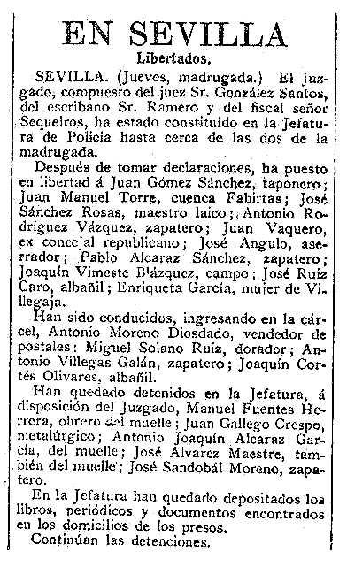Noticia del encarcelamiento de Joaquín Cortés Olivares aparecida en el diario madrileñoLa Correspondencia de Españadel 22 de septiembre de 1911