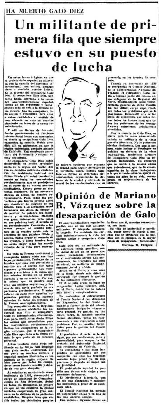 Necrológica de Galo Díez Fernández aparecida en el diario barcelonés Solidaridad Obrera del 26 de julio de 1938
