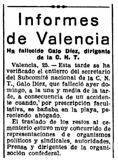 Necrológica de Galo Díez Fernández aparecida en el diario madrileño La Libertad del 26 de julio de 1938