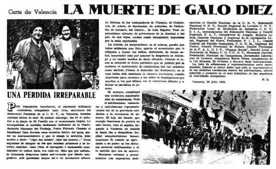 Necrológica de Galo Díez Fernández aparecida en la revista Umbral del 13 de agosto de 1938